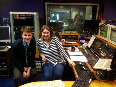 Ethan with Nicola Gilroy in the Radio Lincolnshire studio
