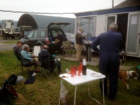 Task week comes to an end - and the hardened few sit outside the caravan!
