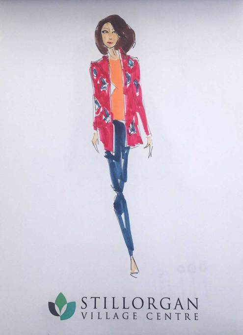 1st Option Model Stillorgan, Linda Byrne Illustration, Fashion illustration, fashion sketch, runway sketch, live event fashion show, fashion show illustrations
