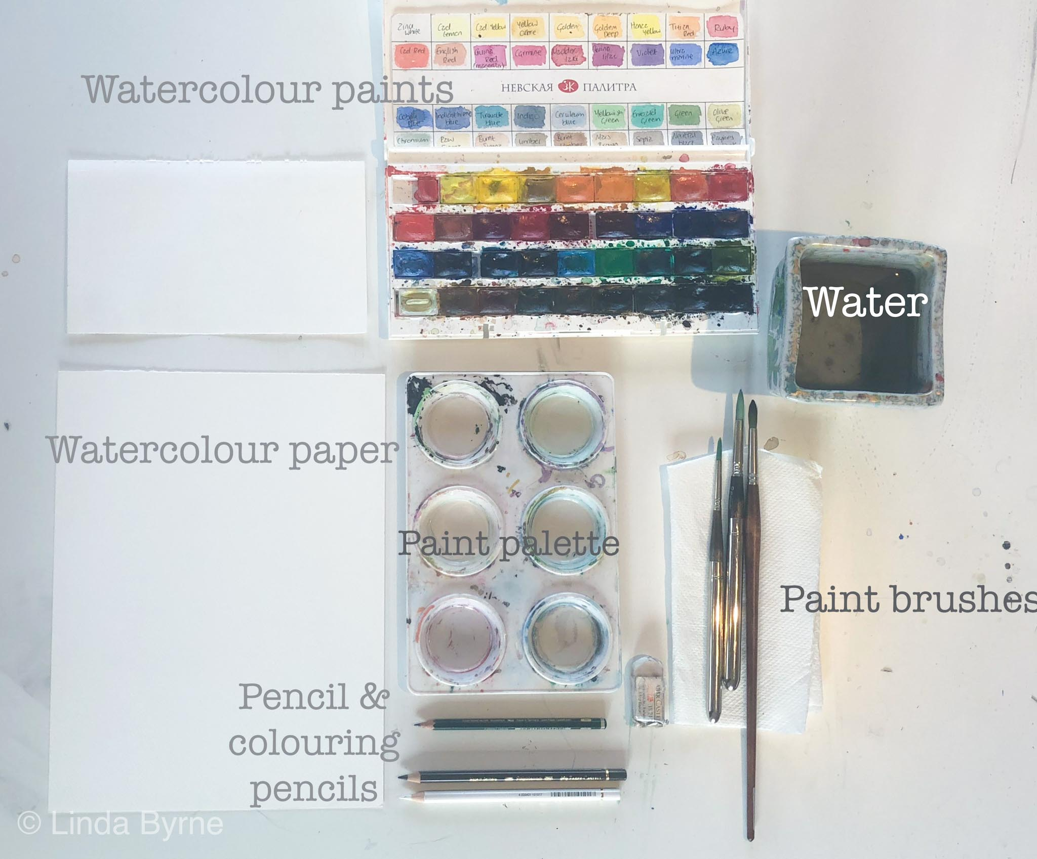 watercolour paint set up, what you need to paint with watercolours