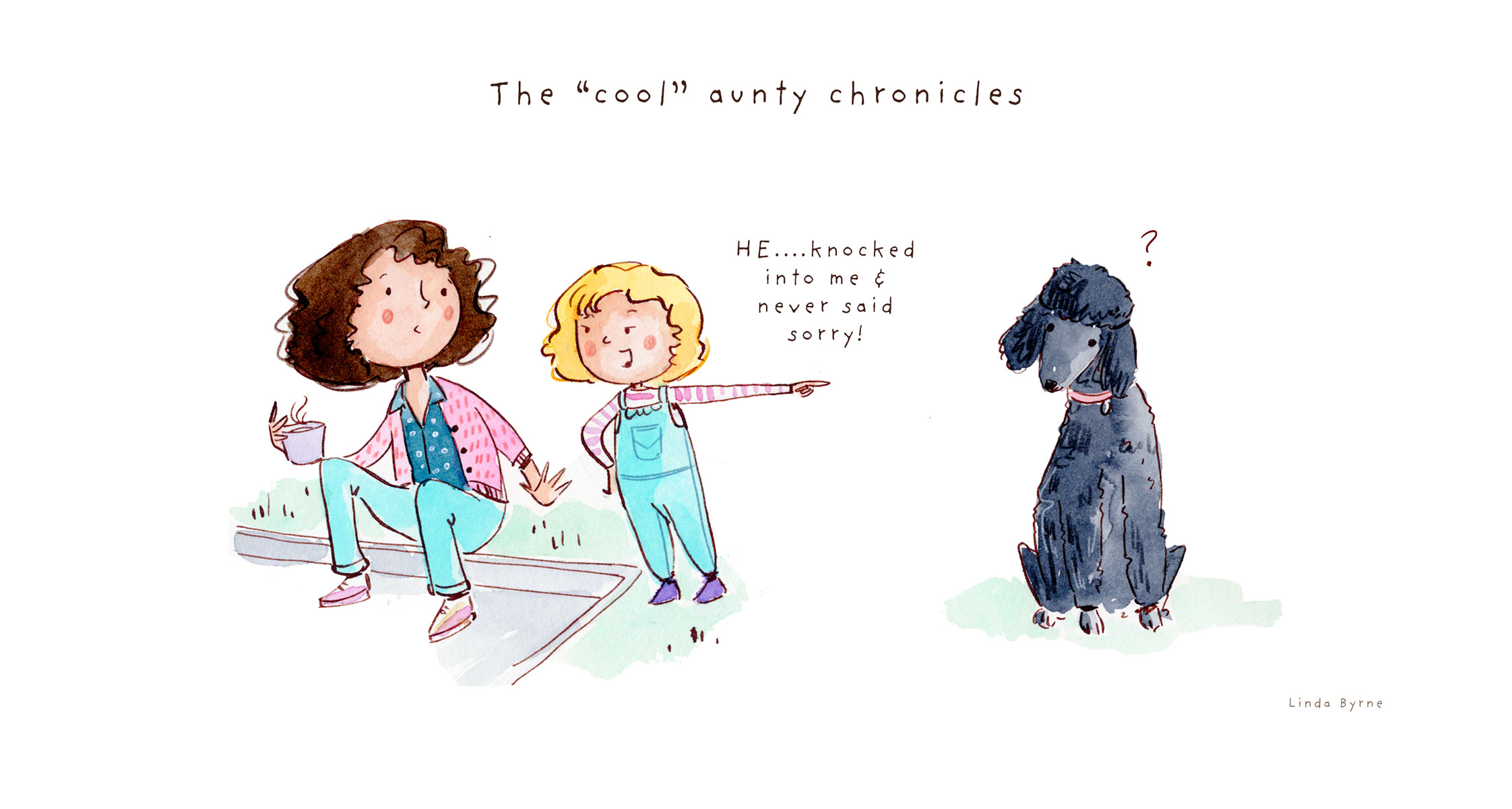 the cool aunty chronicles comic illustration by Linda Byrne Illustration, watercolour comic, cool aunty comic, how to be a cool auntie