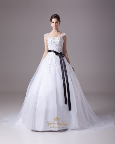 White Beaded Lace Applique Organza A Line Wedding Dress ...