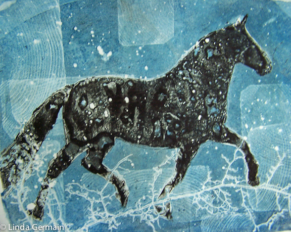 Gelatin plate print of horse by linda germain