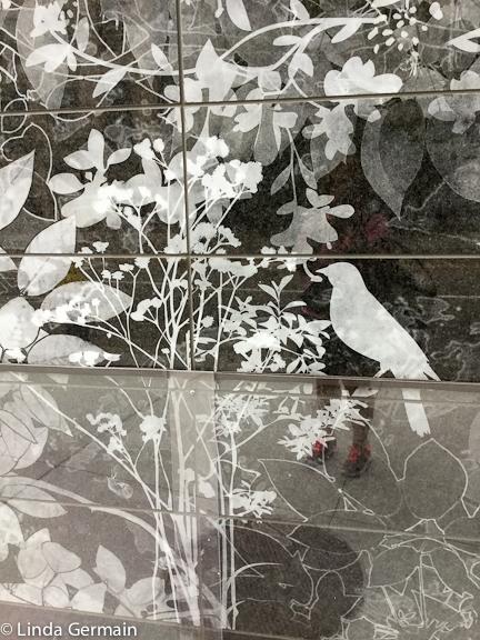 sandblasted granite wall at Boston Children's Hospital
