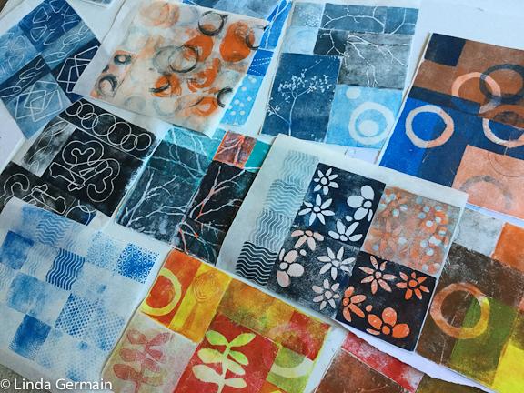 relief prints in progress Linda Germain