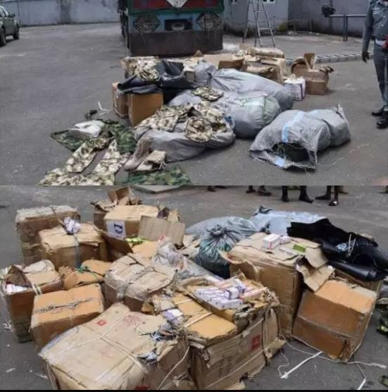 Nigerian Customs interceptstruckload of military hardware and cartoons of tramadol in Imo State