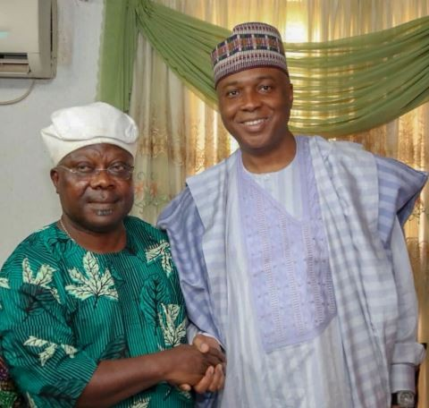 Breaking: Bukola Saraki shares photos with Omisore, says 'we have agreed to work together to defeat APC in Osun State'