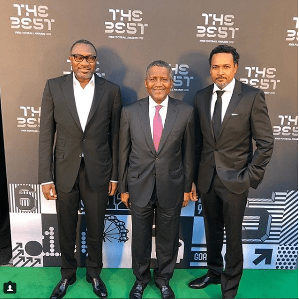 Otedola, Dangote and Cecil Hammond pictured at FIFA The Best Awards in London