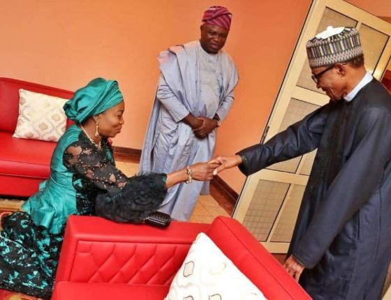 Throwback photo of Governor Ambode's wife kneeling to greet President Buhari in Lagos