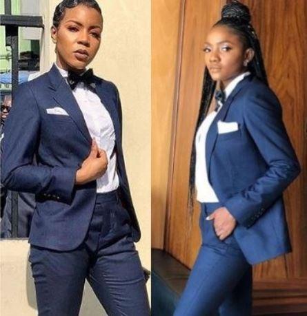 Simi, Lola OJdress up in suits with the 'Groomsmen' atthe wedding of OAP Gbemi Olateru-Olagbegi to Femi Ajayi