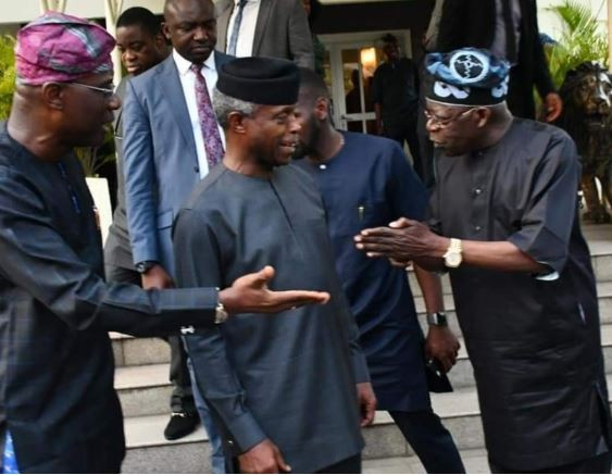 Caption this photo of VP Osinbajo, Bola Tinubu and Jide Sanwo-Olu