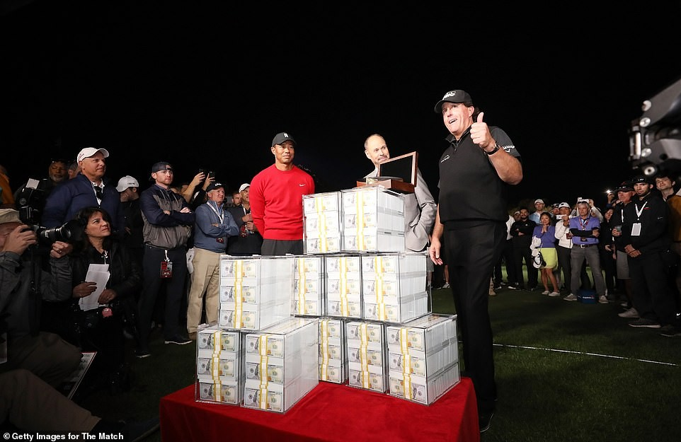 See photos of the cash price of $9m Golf legend Tiger Woods lost to Phil Mickelson in an exhibition match