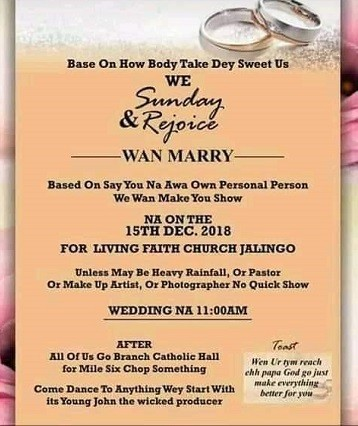 This viral wedding invitation card written in pidgin English will leave you in stitches