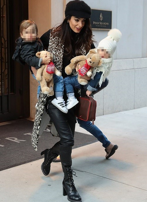 Amal Clooney steps out with her twin kids Ella and Alexander in New York