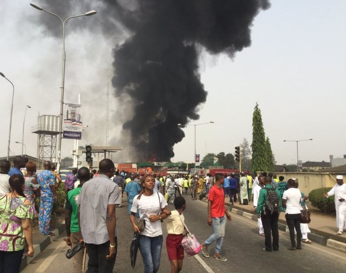 Photos:Forte Oil filling station alongAirport Road in Lagos goes up in flames