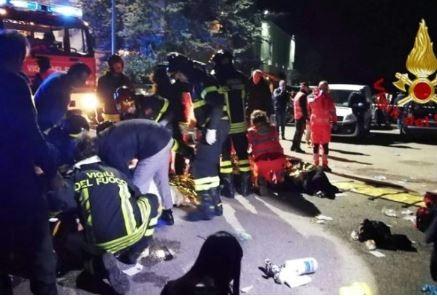 Six people die duringstampede at a rap concert in an Italian nightclub