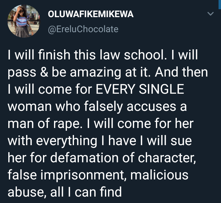 Female law student says when she graduates she'll go after every woman who falsely accuses a man of rape