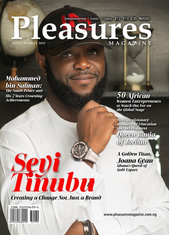 Seyi Tinubu and Crown Prince Mohammed Bin Salman of Saudi Cover July August Issue of Pleasures Magazine