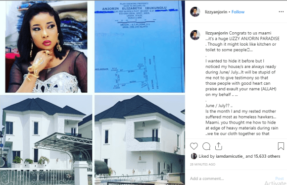 Liz Anjorin shows off her new mansion lindaikejisblog 1