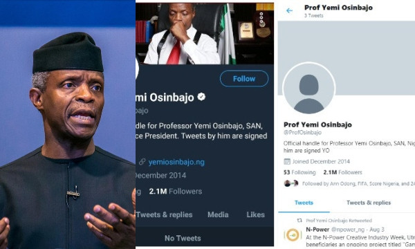 Presidency gives reason on why Yemi Osinbajos Twitter account was unverified; Nigerians react