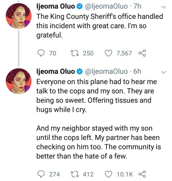 Nigerian author narrates how white supremacists tried to get her family killed by making a fake 911 call