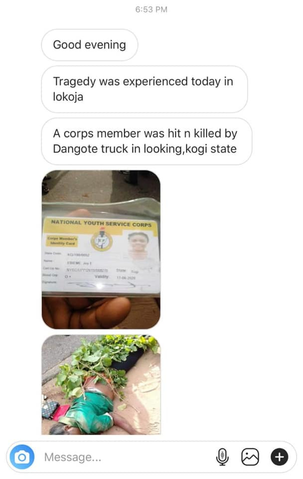 Corps member killed by a truck in Kogi lindaikejisblog 1