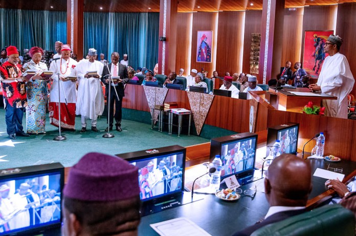 Full text of President Buharis speech at the inauguration of new ministers