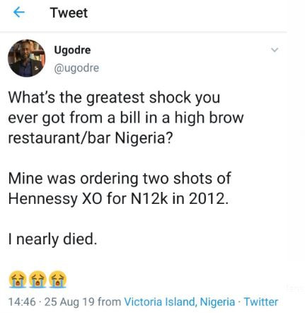 , Nigerians share hilarious stories of their experience with 'crazy' bills at high brow restaurants , All9ja