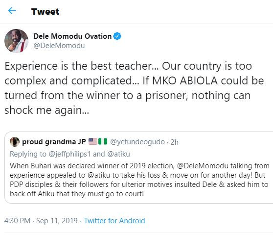 Atiku VS Buhari:If MKO Abiolacould be turned from the winner to a prisoner, nothing can shock me again - Dele Momodu