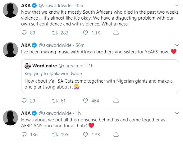 Xenophobia:10 South Africans dead in last two weeks, zero Nigerians, Twitter made you turn on your own country - Rapper. AKA