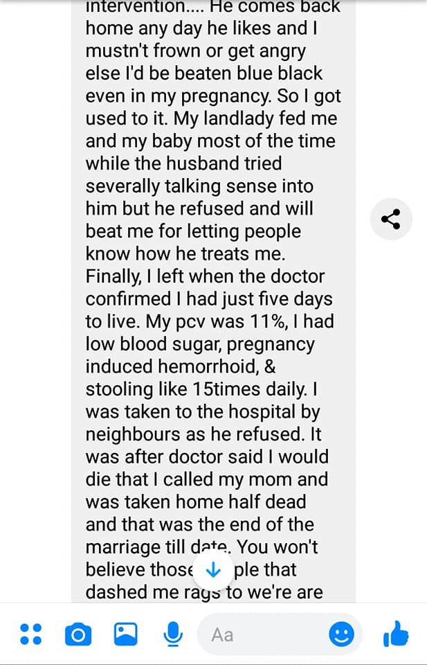 Nigerian man shares chat from an old school friend who went through a scathing domestic abuse lindaikejisblog 7