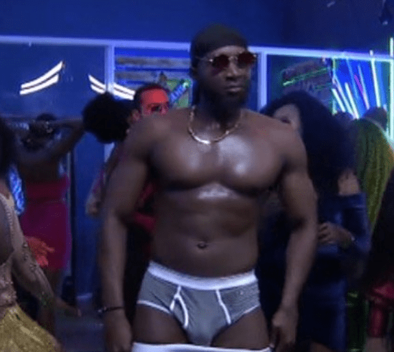 Here's the moment Tuoyo stripped to his pants on live TV during the final #BBNaija party (Photos)