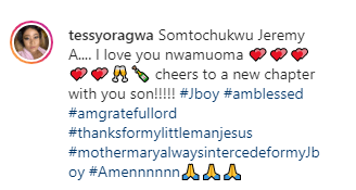 """Somtochukwu Jeremy A. I love you"" Actress Tessy Oragwa says as she shares new photo hours after welcoming son"