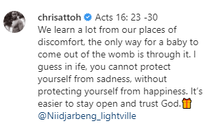 Chris Attoh returns to social media five months after the death of his second wife, says 'we learn a lot from our places of discomfort'    Ghanaian actor, Chris Attoh has returned to social media five months after his second wife, Bettie Jennifer was shot dead in US.    In his first Instagram post in 5-months, the actor wrote, 'we learn a lot from our places of discomfort, the only way for a baby to come out of the womb is through it. I guess in life, you cannot protect yourself from sadness, without protecting yourself from happiness. Its easier to stay open and trust God'.    Chris Attoh was was previously married to Nigerian actress, Damilola Adegbite. Their marriage lasted only two years and they have son together.