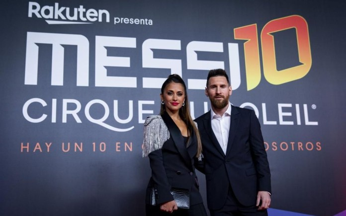 Lionel Messi steps out with his wife Antonella Roccuzzo for Premiere of Messi10, says hell stay at Barcelona forever (Photos)
