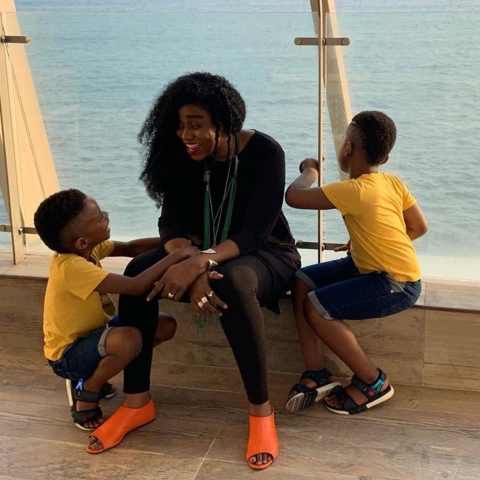 Adorable photos of TY Bello and her twin sons