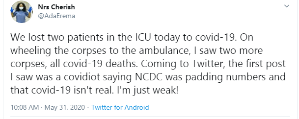 Nigerian nurse slams Twitter user who said Coronavirus is not real and also accused NCDC of padding numbers lindaikejisblog 1