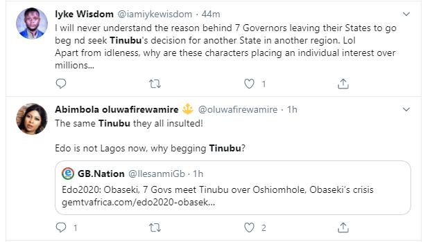 Nigerians react after Tinubu's meeting with APC Governors over party crisis in Edo state lindaikejisbog 7
