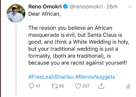The reason Africans believe African masquerade is evil but Santa Claus is good is because they are racists to themselves - Reno Omokri lindaikejisblog 1