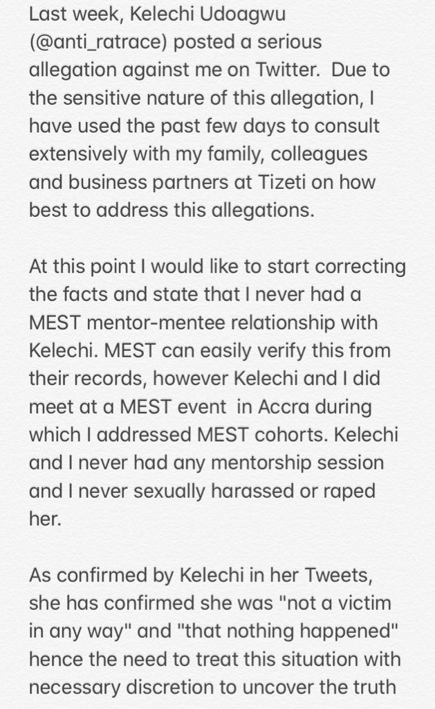 Tizeti CEO, Kendall Ananyi denies sexual harassment allegation after being called out by female tech consultant lindaikejisblog 5