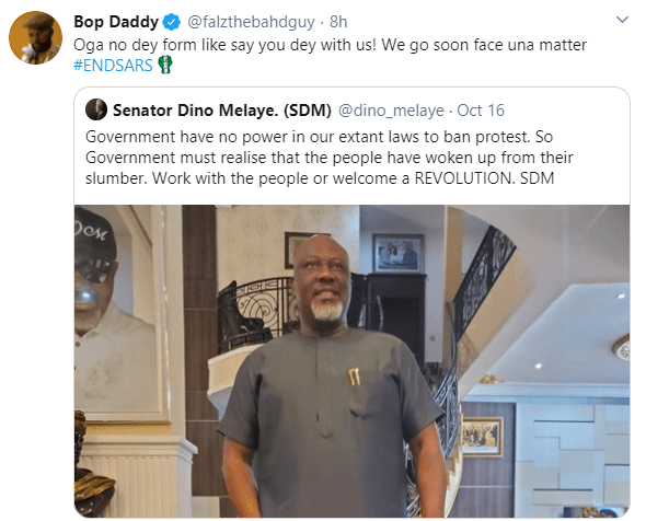 'We go soon face una matter' - Falz slams Dino Melaye over solidarity with #EndSARS protesters  1