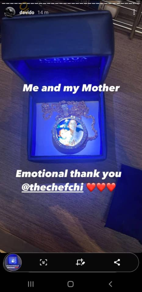 Davido shows off a neck chain with an image of him and his mother he got as birthday gift from Chioma  1