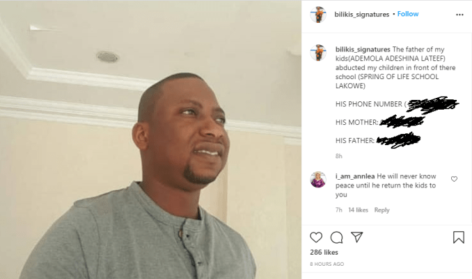 Nigerian lady who accused the father of her children of leading an attack against her, shares his photo  1