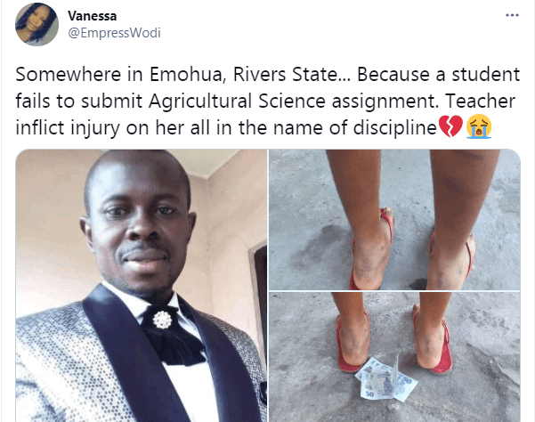 Teacher allegedly brutalizes student for failing to submit assignment in Rivers state  1