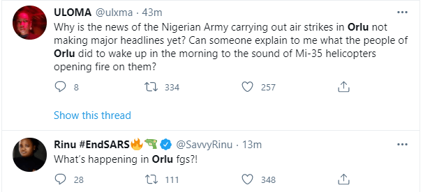 Nigerian Military accused of carrying out air strikes in Orlu, a civilian populated area in Imo state 4