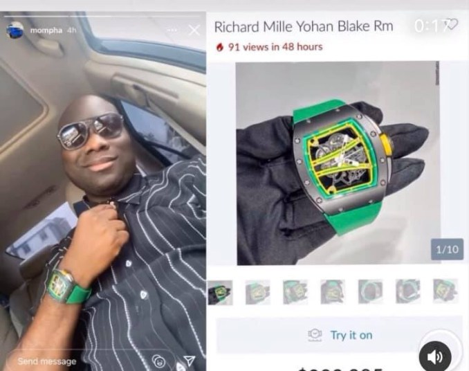 Mompha shows off his N118m Richard Mille wristwatch