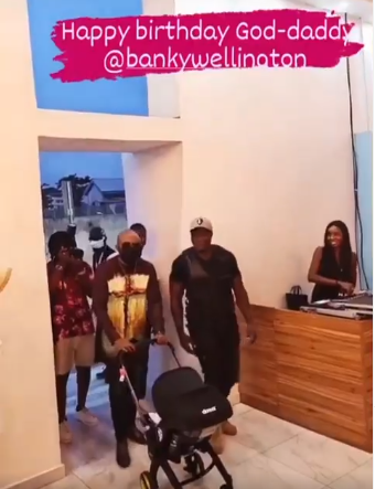 Moment Banky W walked in with his son for his surprise 40th birthday party