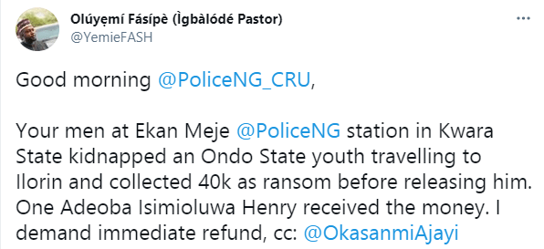 Policemen accused of allegedly kidnapping traveler and forcing him to pay a N40k ransom  1