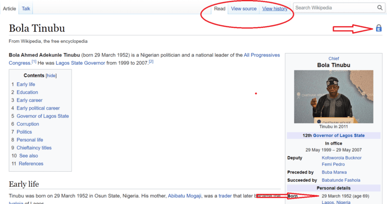 Wikipedia locks Tinubus page for persistent vandalism after age is edited 84 times