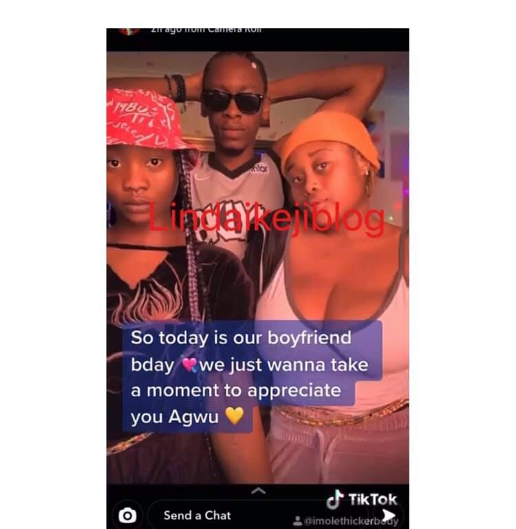 Nigerian man in throuple relationship celebrated by his two girlfriends on his birthday